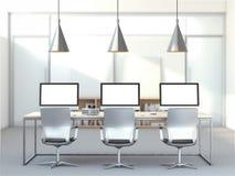 Lugar de trabajo con tres ordenadores stock de ilustración