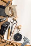 Lugar de trabajo de la carpintería del vintage Fotografía de archivo