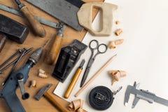 Lugar de trabajo de la carpintería del vintage Imagenes de archivo