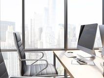 Lugar de trabajo de la oficina con el monitor en blanco stock de ilustración
