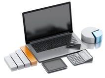 lugar de trabajo de la oficina 3d con PC del ordenador portátil Foto de archivo libre de regalías