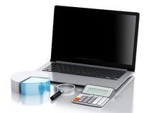 lugar de trabajo de la oficina 3d con PC del ordenador portátil ilustración del vector