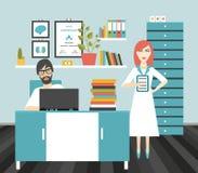 Lugar de trabajo de la oficina del doctor y de la enfermera Imágenes de archivo libres de regalías