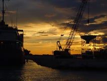Lugar de trabajo de la puesta del sol Fotografía de archivo