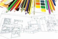 Lugar de trabajo de los diseñadores con las herramientas de dibujo Foto de archivo