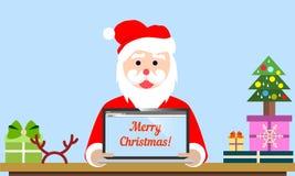 Lugar de trabajo de Santa Claus, ejemplo del vector Santa con la computadora portátil Foto de archivo libre de regalías