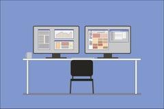 Lugar de trabajo del analista de las finanzas Imágenes de archivo libres de regalías