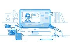Lugar de trabajo del blogger o del editor de vídeo Vector Imagen de archivo