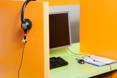 Lugar de trabajo del centro de atención telefónica Imagen de archivo libre de regalías