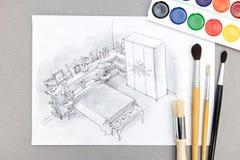 Lugar de trabajo del diseñador con el dibujo de las herramientas del dormitorio y de dibujo Imagen de archivo