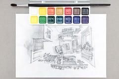 Lugar de trabajo del diseñador con el dibujo a pulso de la sala de estar, pinturas de la acuarela, cepillo Imágenes de archivo libres de regalías