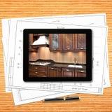 Lugar de trabajo del diseñador con el ordenador digital de la tableta foto de archivo libre de regalías