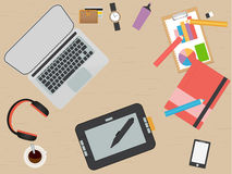 Lugar de trabajo del diseñador Diseño plano Ilustración stock de ilustración