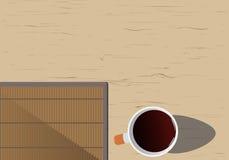 Lugar de trabajo del encargado del fondo: un escritorio de madera con una taza de café libre illustration