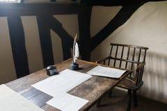 Lugar de trabajo del escritor fotografía de archivo libre de regalías