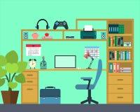 Lugar de trabajo del niño de la escuela - estilo plano Ilustración del vector Fotos de archivo