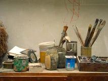Lugar de trabajo del pintor Fotografía de archivo