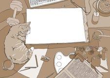 Lugar de trabajo del pintor en la visión superior con el gato Imagen de archivo
