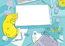 Lugar de trabajo del pintor en la visión superior con el gato amarillo Fotografía de archivo
