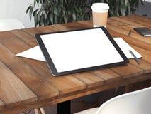 Lugar de trabajo del vintage con la tableta para pintar representación 3d libre illustration
