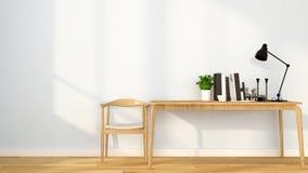 Lugar de trabajo en el apartamento o el hogar - diseño interior para las ilustraciones - representación 3D libre illustration