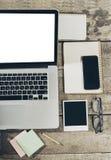 Lugar de trabajo, herramientas de la oficina Fotografía de archivo libre de regalías