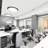 Lugar de trabajo interior de la oficina moderna vacía Fotos de archivo libres de regalías