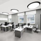Lugar de trabajo interior de la oficina moderna vacía Imagenes de archivo