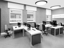 Lugar de trabajo interior de la oficina moderna vacía Fotografía de archivo
