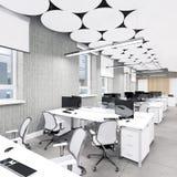 Lugar de trabajo interior de la oficina moderna vacía Imagen de archivo