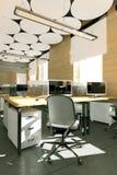 Lugar de trabajo interior de la oficina moderna vacía Imágenes de archivo libres de regalías