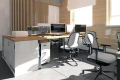 Lugar de trabajo interior de la oficina moderna vacía Imagen de archivo libre de regalías