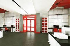 Lugar de trabajo interior de la oficina moderna vacía Foto de archivo