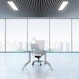 Lugar de trabajo moderno en la oficina con las ventanas ilustración del vector