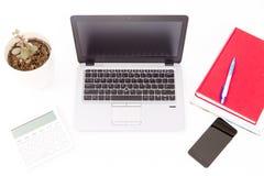Lugar de trabajo moderno, limpio, brillante y cómodo con el ordenador, planta de la casa y libros Imágenes de archivo libres de regalías