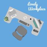 Lugar de trabajo plano de la oficina Foto de archivo