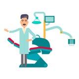 Lugar de trabajo plano del dentista Ilustración del Vector