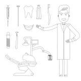Lugar de trabajo plano del dentista Stock de ilustración