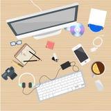 Lugar de trabajo plano, trabajo del web Imágenes de archivo libres de regalías