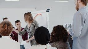 Lugar de trabajo sano, discusión de grupo principal joven de la mujer de negocios en la EPOPEYA ROJA ligera moderna de la cámara  almacen de metraje de vídeo