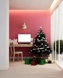 Lugar de trabajo y árbol de navidad en el apartamento o el hogar - ilustraciones para el día de la Navidad - representación 3D stock de ilustración