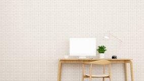 Lugar de trabajo y pared de ladrillo en el apartamento o el hogar - diseño interior para las ilustraciones - representación 3D stock de ilustración