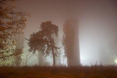Lugar del abatimiento en la niebla fotos de archivo