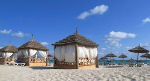 Lugar del balneario en la playa imágenes de archivo libres de regalías