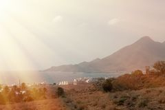 Lugar del desierto con las palmeras situadas en Almería Imagenes de archivo