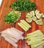 Lugar del en de Mise de los ingredientes de Banh MI Imagen de archivo