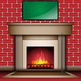 Lugar del fuego con el tablero de mensajes en blanco Fotos de archivo