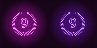 Lugar del neón noveno en color púrpura y violeta libre illustration