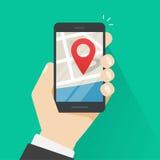Lugar do geo do telefone celular, ponteiro do mapa da cidade do navegador dos gps do smartphone Imagens de Stock