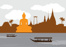 Lugar do marco e do curso de Tailândia, templo, fundo Imagem de Stock Royalty Free